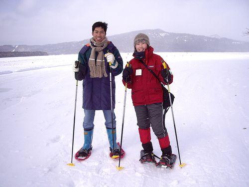 Đi bộ trên hồ Akan đã đóng băng