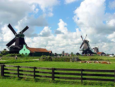 Cánh đồng và cối xay gió ở Zaanse Schans